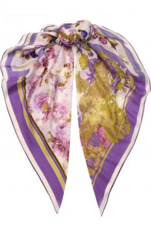 Шаль из смеси кашемира и шелка с цветочным принтом Loro Piana. Цвет: сиреневый