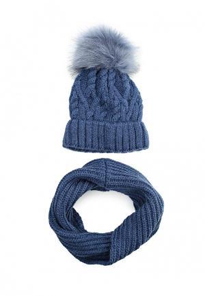 Комплект шапка и снуд Fete. Цвет: синий