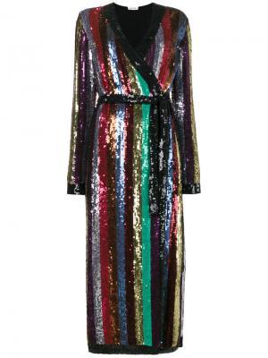 Длинное платье с пайетками Attico. Цвет: многоцветный