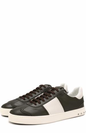 Кожаные кеды  Garavani Flycrew на шнуровке Valentino. Цвет: хаки
