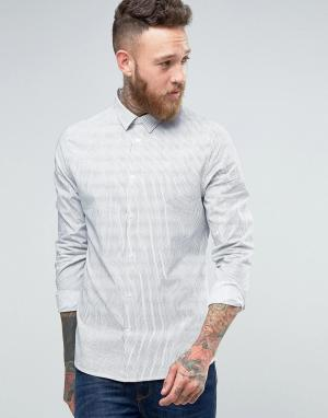 Hoxton Shirt Company Фактурная строгая рубашка слим. Цвет: белый