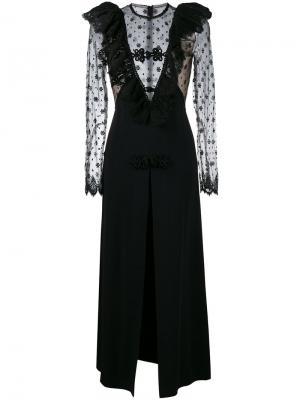 Платье с кружевной вставкой Alessandra Rich. Цвет: чёрный