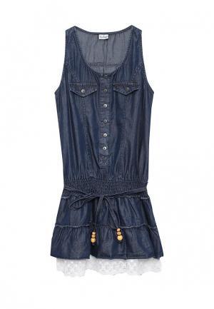 Платье джинсовое Blukids. Цвет: синий