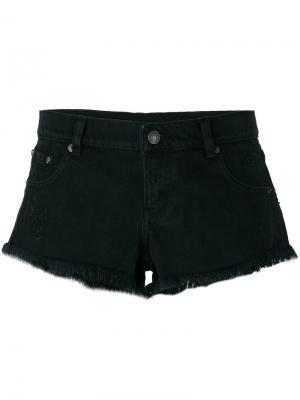 Джинсовые шорты с бахромой The Kooples. Цвет: чёрный