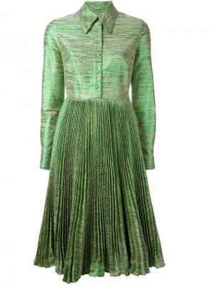 Плиссированное платье-рубашка Manoush. Цвет: зелёный