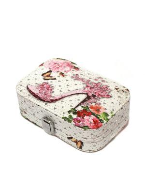 Шкатулка для украшений Eleon. Цвет: белый, серебристый, розовый