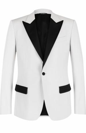 Вечерний пиджак из смеси шерсти и шелка Dolce & Gabbana. Цвет: белый