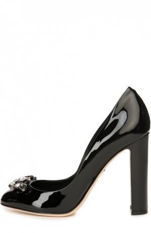 Лаковые туфли Vally с брошью Dolce & Gabbana. Цвет: черный