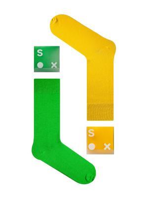 Набор Контрастный микс (2 пары в упаковке), дизайнерские носки SOXshop. Цвет: зеленый, желтый