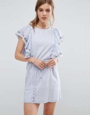 Suncoo Джинсовое платье с оборками. Цвет: синий