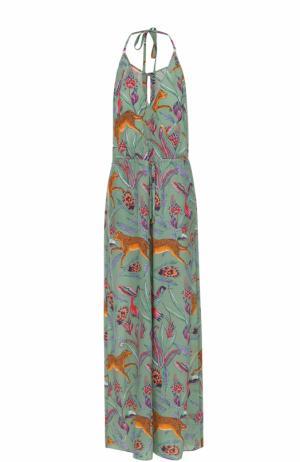Шелковый приталенный комбинезон с принтом Lazul. Цвет: зеленый