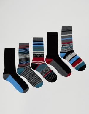 Urban Eccentric 5 пар носков в полоску. Цвет: мульти