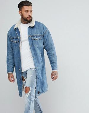 Sixth June Длинная джинсовая куртка на подкладке из искусственного меха Jun. Цвет: синий