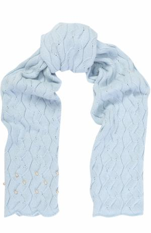 Шарф из смеси шерсти и кашемира фактурной вязки с бусинами Il Trenino. Цвет: голубой