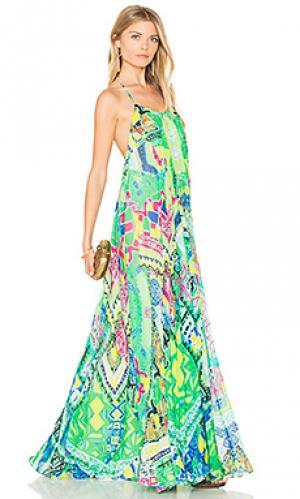 Длинное платье с акварельным рисунком ROCOCO SAND. Цвет: зеленый