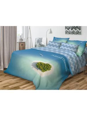 Комплект постельного белья Волшебная ночь Семейный Island Dreams. Цвет: белый, бирюзовый, зеленый, синий
