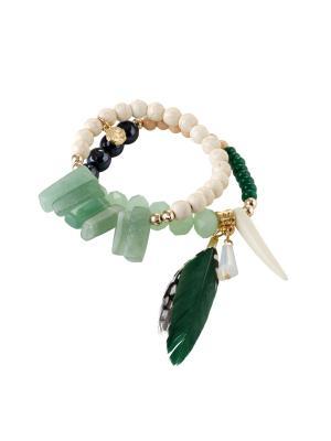 Браслет из натур.камней BА01 Raganella Princess. Цвет: зеленый, золотистый, молочный