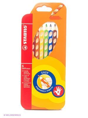 Набор цветных карандашей, 6 цв., для правшей Stabilo. Цвет: оранжевый