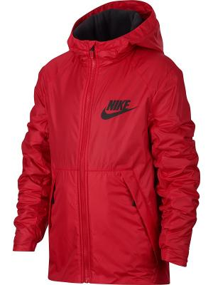 Куртка B NSW JKT HD FLEECE LINED Nike. Цвет: красный