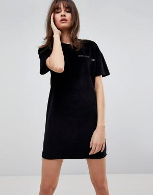 Uncivilised Велюровое платье с принтом. Цвет: черный