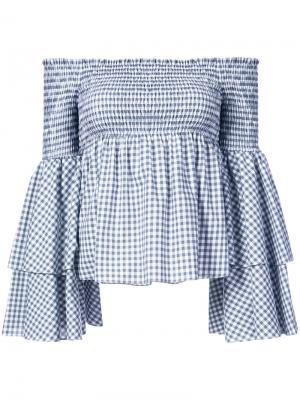 Блузка с открытыми плечами в клетку гингем Caroline Constas. Цвет: серый