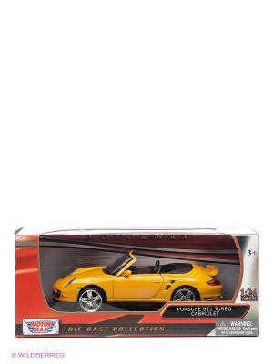 Машинка коллекционная Porsche 911 Turbo Cabriolet в масштабе 1к24 Motormax. Цвет: желтый