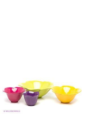 Набор мисок Zak!designs. Цвет: салатовый, фиолетовый, фуксия, желтый