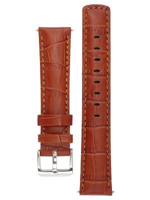 Водонепроницаемый ремешок для часов из кожи теленка с фактурой под аллигатора. Ширина от 18 до 24 мм Signature. Цвет: коричневый