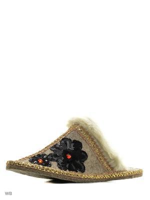 Тапочки Кукморский валяльно-войлочный комбинат. Цвет: серый, черный