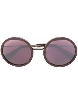 Солнцезащитные очки в круглой оправе Yohji Yamamoto. Цвет: розовый и фиолетовый