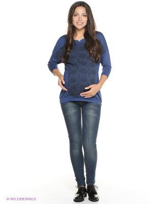 Джемпер для беременных ФЭСТ. Цвет: синий