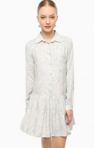 Платье с длинными рукавами и застежкой на пуговицы THINK CHIC. Цвет: цветочный принт