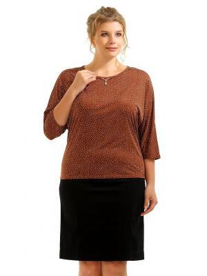 Блузка Pretty Woman. Цвет: темно-коричневый, белый