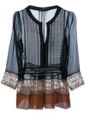 Блузка с кружевной отделкой Alberta Ferretti. Цвет: многоцветный