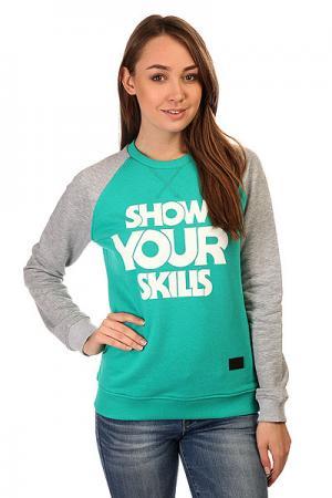 Толстовка свитшот женская  Show You Crewneck Emerald/Grey Melange Skills. Цвет: серый,голубой