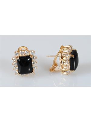 Серьги с черным ониксом Lotus Jewelry. Цвет: черный