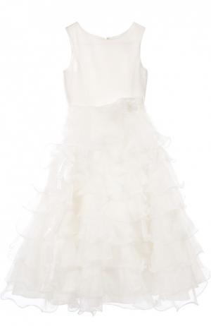 Платье с брошью Sarah Louise. Цвет: кремовый