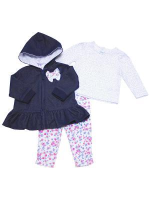 Комплект из 3-х предметов для девочкиДеним Little Me. Цвет: белый, синий, розовый