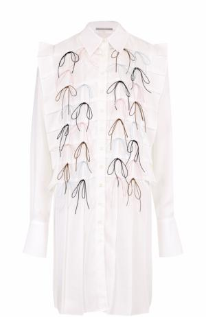Удлиненная хлопковая блуза с декоративной отделкой Marco de Vincenzo. Цвет: белый