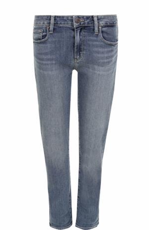Укороченные джинсы прямого кроя с потертостями Paige. Цвет: голубой