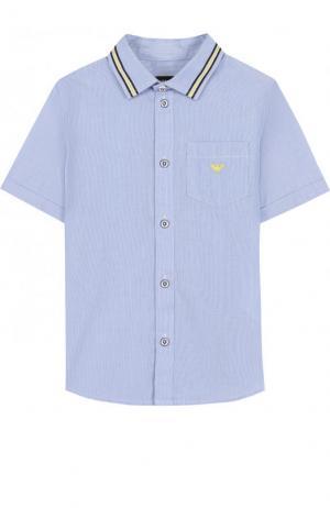 Хлопковая рубашка с короткими рукавами Armani Junior. Цвет: голубой
