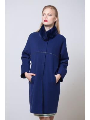 Пальто из кашемира SARTORI DODICI. Цвет: синий