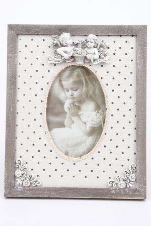 Рамка деревянная с ангелами LA NEIGE. Цвет: серый, белый