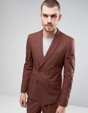 ASOS Приталенный двубортный пиджак рыжего цвета. Цвет: рыжий
