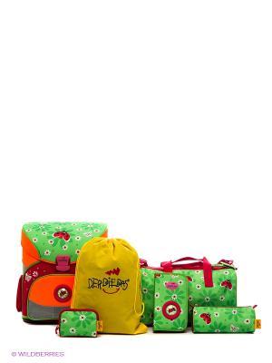 Ранец с наполнением БОЖЬЯ КОРОВКА DerDieDas. Цвет: зеленый, оранжевый