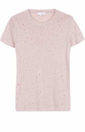 Удлиненная льняная футболка с перфорацией Iro. Цвет: светло-розовый