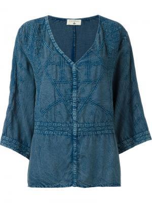 Блузка c V-образным вырезом Cotélac. Цвет: синий