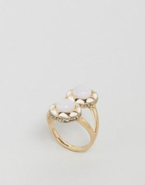 House of Harlow Броское кольцо с двумя камнями. Цвет: белый