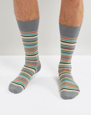 Paul Smith Синие классические носки в разноцветную полоску. Цвет: синий