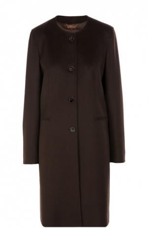 Пальто прямого кроя с круглым вырезом Colombo. Цвет: темно-коричневый